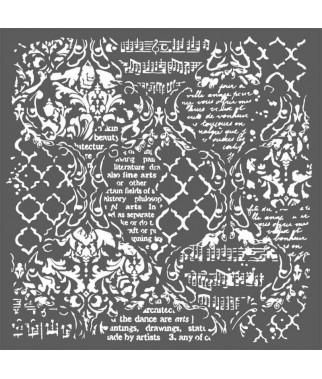 Szablon do past strukturalnych i decoupage, Stamperia - tło duże damaski ręczne pismo nutyKSTDG01