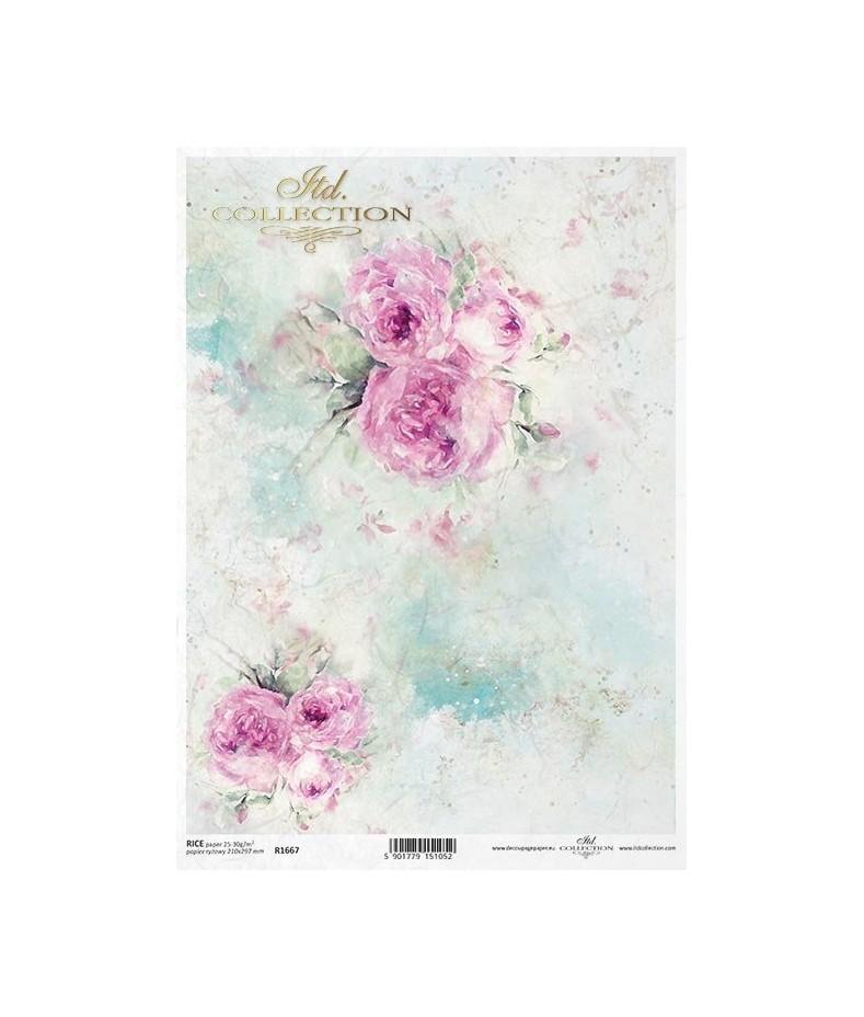 Papier ryżowy do decoupage, Akwarela z różami  - ITD R1667