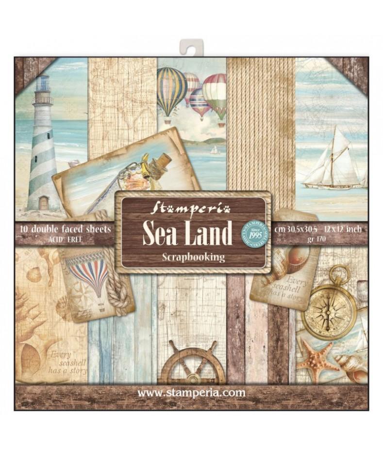Zestaw papierów do scrapbookingu, Sea Land SBBL37 Stamperia