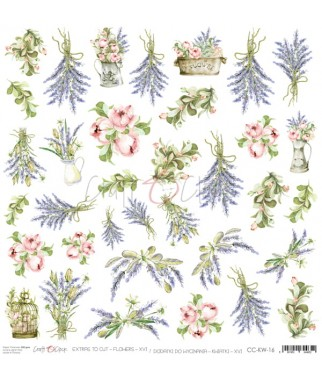 Arkusz do scrapbookingu Craft O'Clock Kwiatki XVI / 16 - lawenda