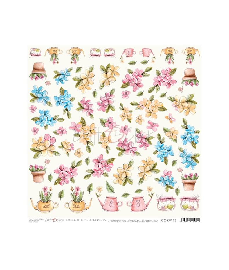 Arkusz do scrapbookingu Craft O'Clock Kwiatki XV / 15
