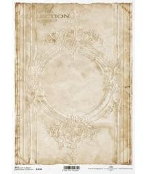 Papier ryżowy do decoupage A4, Duża ramka Vintage - sepia ITD R1696
