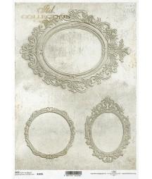 Papier ryżowy do decoupage A4, Ramki Vintage - szarość ITD R1695
