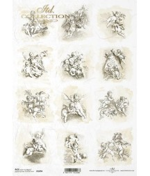 Papier ryżowy do decoupage A4, Klasyczne aniołki amorki - ITD R1694