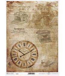 Papier ryżowy do decoupage A4, Stare maszyny do pisania, zegar - ITD R1692