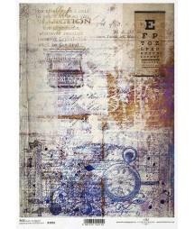 Papier ryżowy do decoupage A4, Stary zegarek, tło vintage - ITD R1691