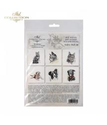 Zestaw papierów ryżowych mini do decoupage ITD RSM006 6 szt. Psy i koty