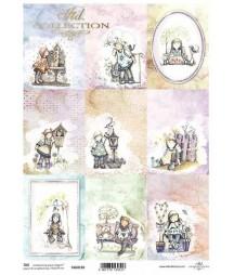 Papier A4 do scrapbookingu, Pastelowe aniołki - dziewczynki