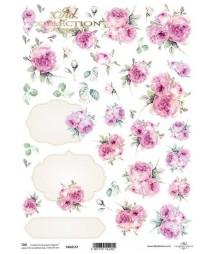 Papier A4 do scrapbookingu, Różowe róże vintage TAG0157