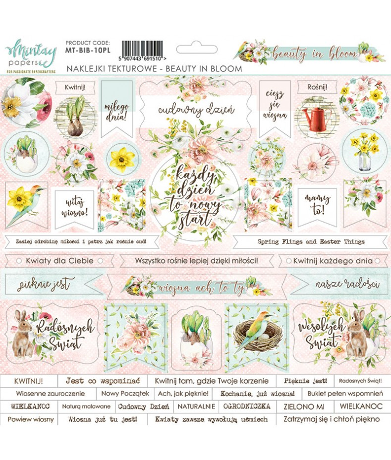 Arkusz tekturowych naklejek do scrapbookingu z kolekcji Beauty in Bloom, Mintay Papers