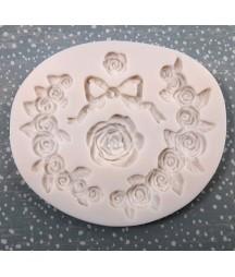 Forma silikonowa do decoupage - różany wianek
