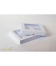 Pudełko kwadratowe shadow box z okienkiem białe 15x15 cm