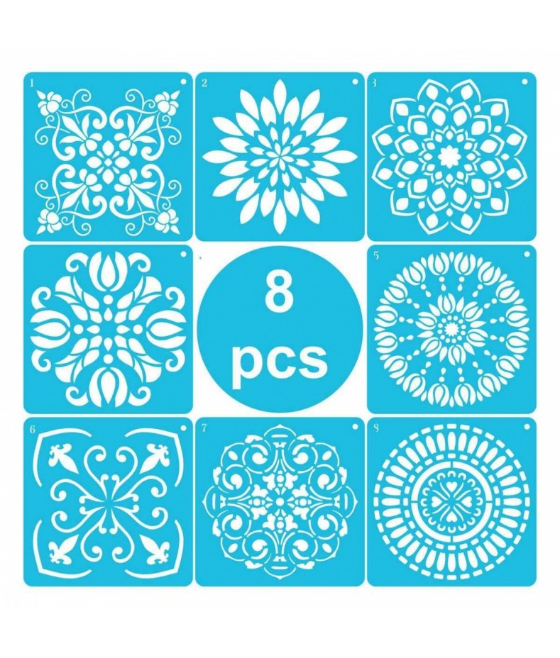 Zestaw szablonów home decor Mandala B, 8 szt. 15x15 cm, Daily Art
