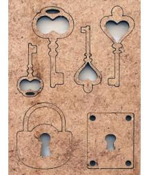 Dekory z HDF - klucze i zamki - produkty do decoupage i mixed media