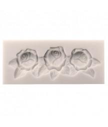 Forma silikonowa do decoupage - Girlanda trzech różyczek