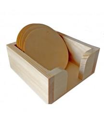 Pudełko z podkładkami pod kubek - podkładki okrągłe
