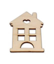 Domek z serduszkiem - dekory ze sklejki