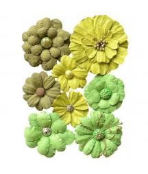 Kwiatki papierowe do scrapbookingu 8 szt. zielone