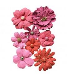 Kwiatki papierowe do scrapbookingu 8 szt. różowe