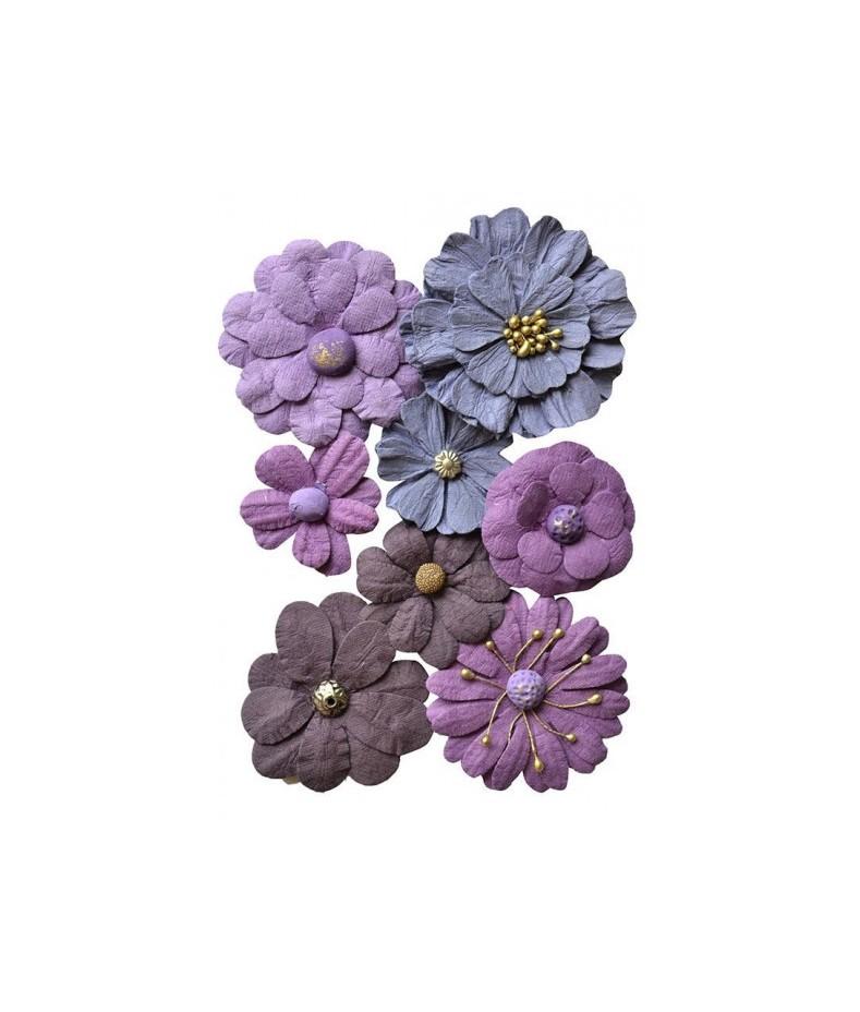 Kwiatki papierowe do scrapbookingu 8 szt. fioletowe