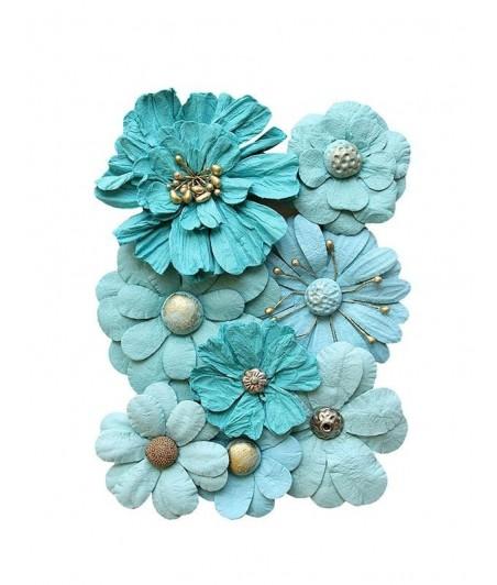 Kwiatki papierowe do scrapbookingu 8 szt. niebieskie