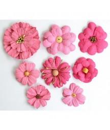 Kwiatki papierowe do scrapbookingu 8 szt. malinowe