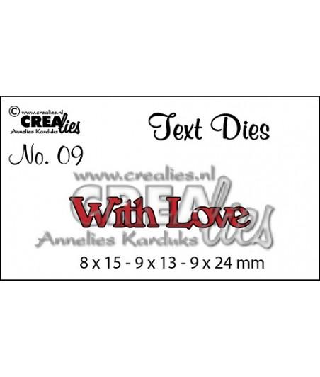 Wykrojniki Text Dies Crealies, napis With Love CLTD09