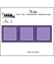 Wykrojnik Text Dies Crealies, Przeszywane kwadraty CLXtra05