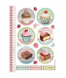 Papier ryżowy Stamperia A4. Mini Cakes - babeczki