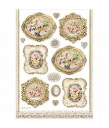Papier ryżowy Stamperia A4. Różane ramki