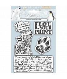 Stemple kauczukowe Stamperia WTKCC178, Arctic - niedźwiedź i rękopis