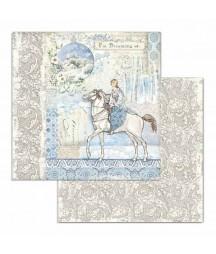 Papier do scrapbookingu 12x12, Stamperia - Winter Tales - wróżka i koń SBB719