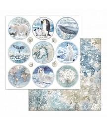 Papier do scrapbookingu 12x12, Stamperia - Arctic - okrągłe tagi SBB734