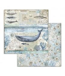 Papier do scrapbookingu 12x12, Stamperia - Arctic - wieloryby SBB729