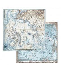 Papier do scrapbookingu 12x12, Stamperia - Arctic - mapy SBB730