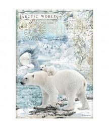Papier ryżowy Stamperia A4. DFSA4478, Arctic - polarne misie