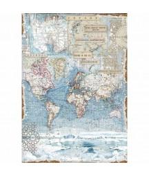 Papier ryżowy Stamperia A3. DFSA3078, Arctic - mapa świata