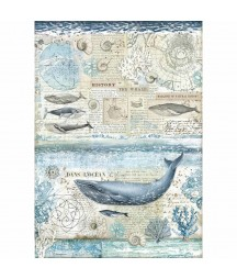 Papier ryżowy Stamperia A3. DFSA3078, Arctic - wieloryb