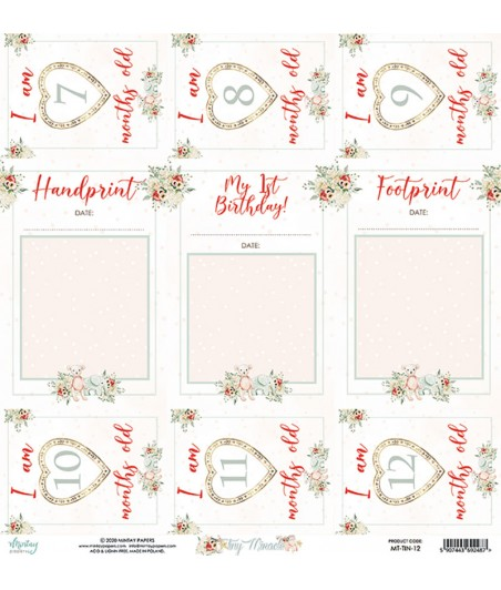 Papier do scrapbookingu 12x12, Tiny Miracle 12 - Mintay Papers