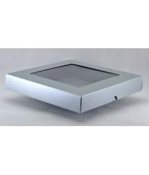 Pudełko kwadratowe z okienkiem srebrne na kartkę 15x15 cm