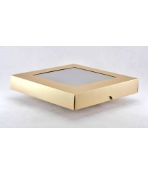 Pudełko kwadratowe z okienkiem złote na kartkę 15x15 cm