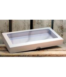 Pudełko kwadratowe z okienkiem białe na kartkę DL 22x11 cm
