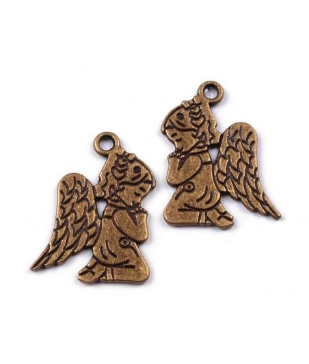 Metalowa zawieszka - aniołek mosiądz
