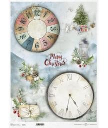 Papier ryżowy do decoupage ITD Collection Świąteczne zegary R0487