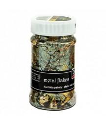 Folia do złoceń w płatkach Pentart 100 ml, złota i zielona mix