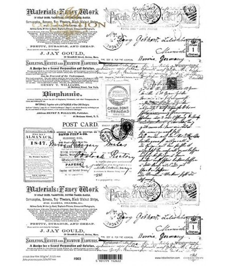 Arkusz folii acetatowej z nadrukiem ITD Collection, Stare gazety i listy F003