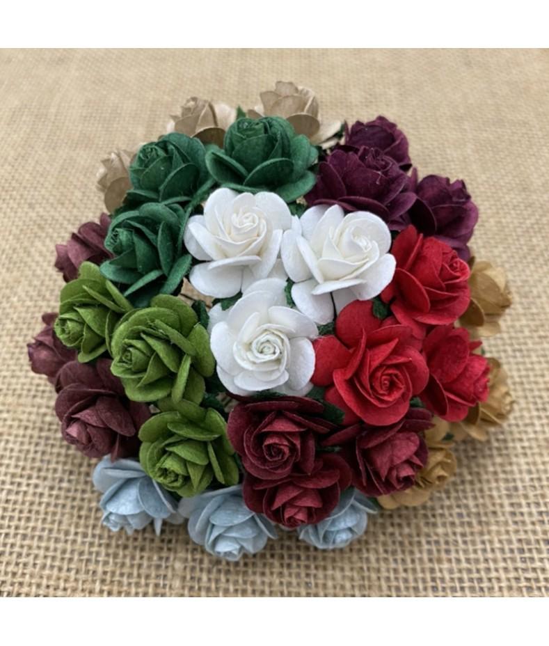 Kwiatki do scrapbookingu Mixed Christmas Open Roses SAA-557 10 mm, 10 szt.