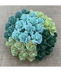Kwiatki do scrapbookingu Mixed Green Mulberry Open Roses SAA-259 15 mm, 10 szt.