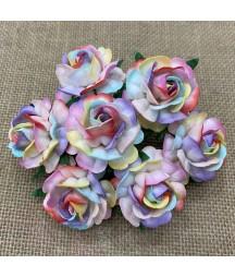 Kwiatki do scrapbookingu Large Rainbow Mulberry Tea Roses SAA-529 40 mm, 5 szt.