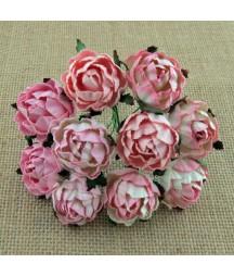 Kwiatki do scrapbookingu Mixed Pink Mulberry Peony Flowers SAA-506 30 mm, 5 szt.
